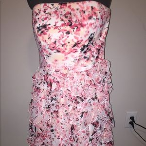 White House Black Market floral strapless dress